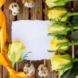 Blank note with yellow roses and quaill eggs — Stock Photo