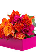Pile of fresh orange and pink roses — Stockfoto