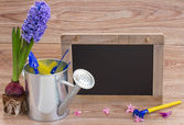 Set of gardening tools with black board — Stock Photo