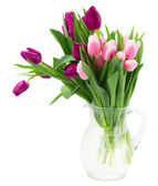 Pink   and violet tulips bouquet — Stock Photo