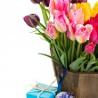 Bunch of multicolored tulips flowers — Photo