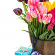 Bunch of multicolored tulips flowers — Stok fotoğraf