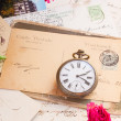 Vintage letter with old clock — Stock Photo