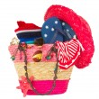 Sunbathing accessories in pink straw bag — 图库照片