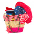 Sunbathing accessories in pink straw bag — Zdjęcie stockowe