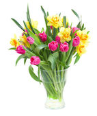 Bouquet of  tulips and daffodils in vase — Photo