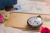 Antique mail  and  clock — Stok fotoğraf