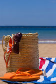 Sunbathing accessories on sandy beach in straw bag — Fotografia Stock