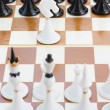 White knight in front of black chess — Stock Photo