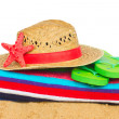 Sunbathing accessories and straw hat — Stok fotoğraf