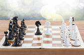 Chess ready to play with two knights in front — Stockfoto