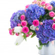Bouquet of white tulips, pink roses and blue hortensia flowers — Stock Photo