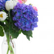 Posy of white tulips, pink roses and blue hortensia flowers — Stock Photo