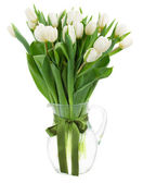 Bouquet of white  tulips in vase — Stockfoto