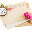 Bunch of old papers with roses — Foto Stock