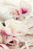 Magnolia flowers with pearls — Stockfoto