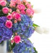 Bouquet of white tulips, pink roses and blue hortensia flowers — Stock Photo #45365151