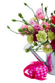 Bunch of carnation flowers with gift box — Стоковое фото