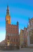 Belediye Binası gdansk, gece — Stok fotoğraf