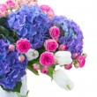 White tulips, pink roses and blue hortensia flowers — Stock Photo
