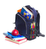 Mochila escolar con los efectos de escritorio — Foto de Stock