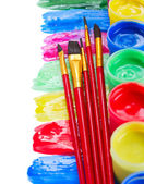 Paints and brushes — Stockfoto