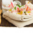 Spa setting with alstroemeria flowers — Stock Photo #48038759