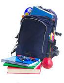 école sac à dos avec la papeterie — Photo