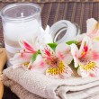 Spa setting with alstroemeria flowers — Stock Photo #48370631