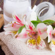 Spa setting with alstroemeria flowers — Stock Photo #48536139