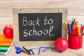 Black board with back to school — Stock Photo