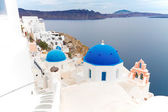 View of caldera with blue domes, Santorini — Stock Photo