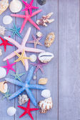 Starfish and sea shells on wooden board — Stock Photo
