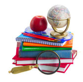 Books with school supply and globe — 图库照片