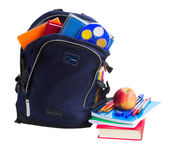 Open school backpack with stationery — Photo