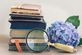 Old books with flowers and looking glass — Stock Photo