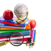 Books with school supply and globe — Stock Photo