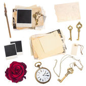 Set of  old paper sheets, photos, antique clock and keys — Photo