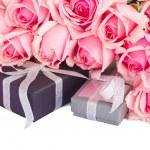 Border of fresh pink garden roses — Stock Photo #51155557