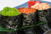 Three types of caviar. — 图库照片