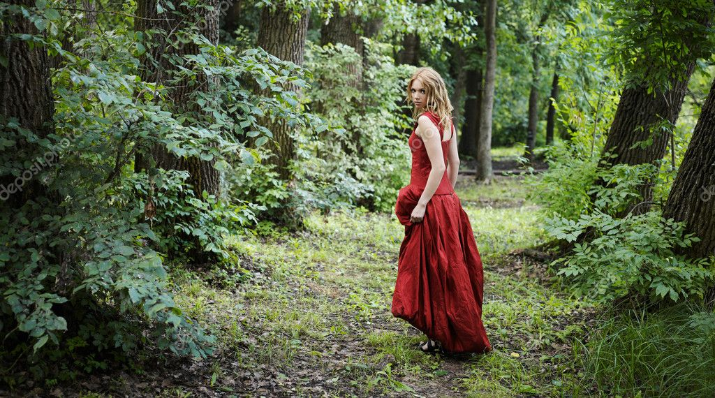 Depositphotos Woman The Woods Stock Photo Perfect Red