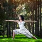 Yoga warrior pose in park — Stock Photo #13019965