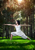 Yoga warrior pose in park — Stock Photo