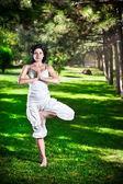 Yoga arbre pose dans le parc — Photo