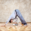 Funny business yoga — Stock Photo