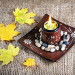 Candle holder and yellow leaves — Stock Photo