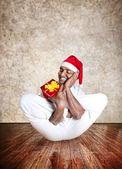 Christmas funny yoga — Stock Photo