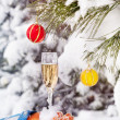 Glass with champagne in winter — Stock Photo