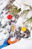 Vetro con champagne in inverno — Foto Stock