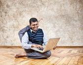 Funny business yoga — Stockfoto